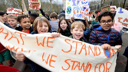 Pupils from Canonbury Primary School and Ambler Primary School take to Highbury Fields on 15.03.19.