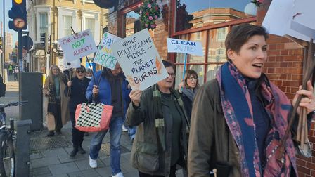 Marchers walk through Islington while chanting. Picture: Harry Taylor