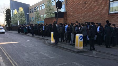 Students protesting outside St Aloysius College. Picture: Lucas Cumiskey