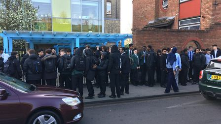 Students protesting outside St Aloysius College this morning. Picture: Lucas Cumiskey