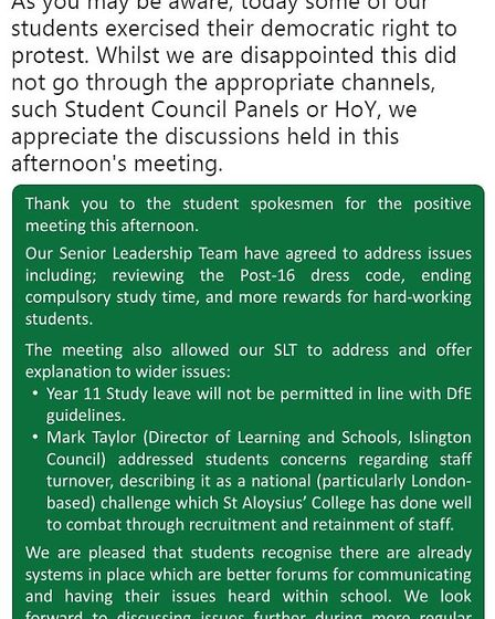 The tweet posted by St Aloysius College after a day of student protests. Picture: @StAloysiusC