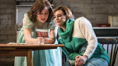 Liv Hill as Angie and Katherine Kingsley as Marlene in Top Girls at the National Theatre Credit: Joh