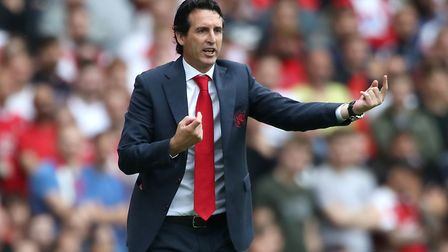 Arsenal manager Unai Emery issues instructions during his side's win at Cardiff City (pic Nick Potts