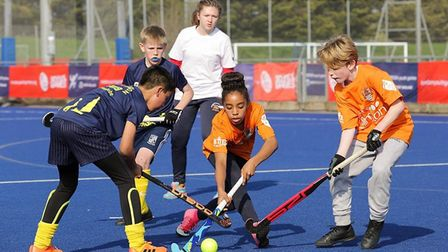 Islington youngsters in Quicksticks hockey action (pic jgmoloney.com)