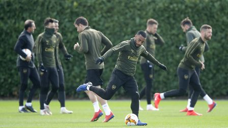 Arsenal's Alexandre Lacazette (centre) during the training session at London Colney.