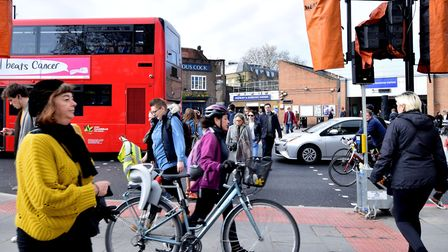 Cars, buses, cyclists and pedestrians at Highbury Corner. Picture: Polly Hancock