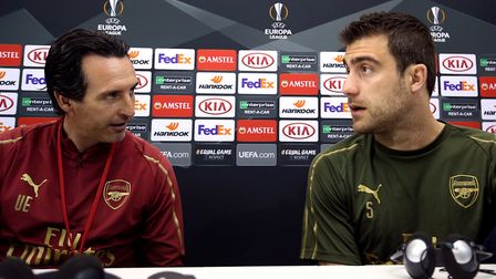 Arsenal manager Unai Emery and Sokratis Papastathopoulos during the press conference at the San Paol