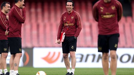Arsenal manager Unai Emery during the training session at the San Paolo Stadium, Naples. Picture: St