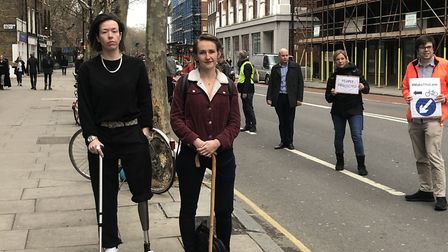 Sarah Doone and Victoria Lebrec, who both lost legs after being run over while cycling along the Old