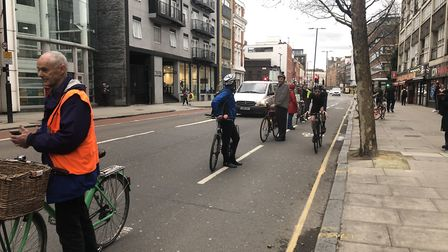 The 'human bike lane' protest at Old Street on Tuesday. Picture: Molly Moss