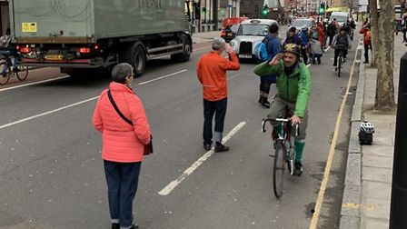 The 'human bike lane' protest at Old Street on Tuesday. Picture: Tabitha Tanqueray
