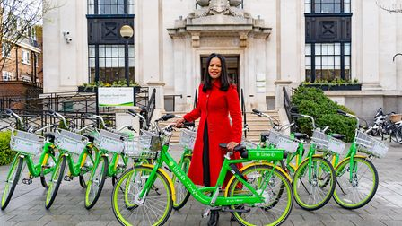 Cllr Claudia Webbe with the Lime bikes. Picture: Lime
