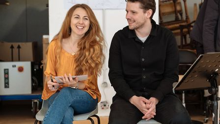 Ella Road and Sam Yates in rehearsals for The Phlebotomist at Hampstead Theatre