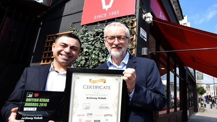Jeremy Corbyn MP drops into Archway Kebab on March 28, 2019 to congratulate owner Hakan Topkaya and