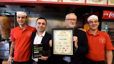 Jeremy Corbyn MP drops into Archway Kebab on March 28, 2019. to congratulate owner Hakan Topkaya and