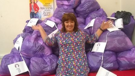 Debbie with her donations.
