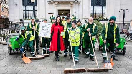 Islington street sweepers outside the town hall with Cllr Claudia Webbe. Picture: Islington Council