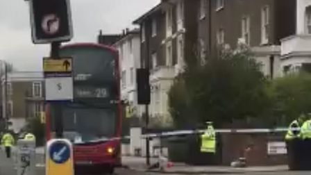 Pedestrian hit by bus in Camden Road. Picture: @999London
