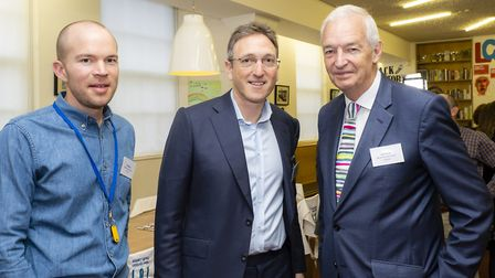 New Horizons' Phil Kerry with Jonathan Goldstein and charity patron Jon Snow. Picture: Grant Frazer