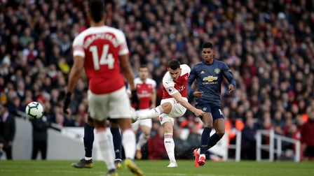 Arsenal's Granit Xhaka scores his side's first goal of the game during the Premier League match at t