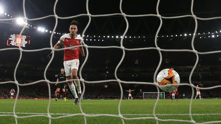 Arsenal's Pierre-Emerick Aubameyang scores his side's third goal of the game during the Europa Leagu