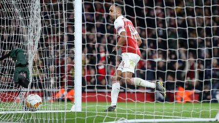 Arsenal's Pierre-Emerick Aubameyang celebrates scoring his side's third goal of the game during the