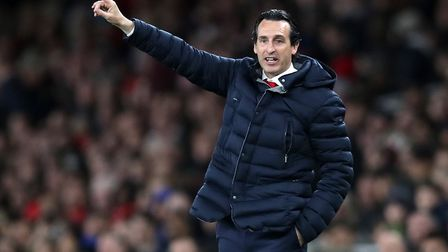 Arsenal manager Unai Emery during the Premier League match at the Emirates Stadium (pic Adam Davy/PA