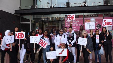 City and Islington College students protesting against knife crime. Picture: Danish Ahmed