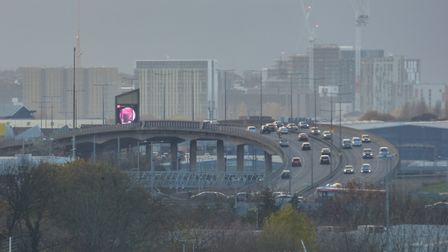Looking down the North Circular from Brent Cross towards Neasden. Two of its junctions - at Chartley