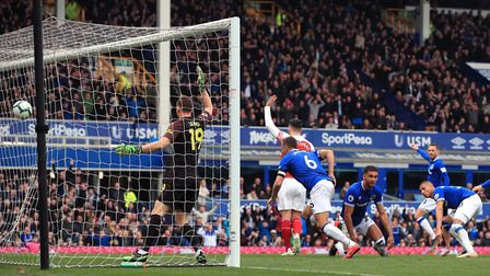 Everton's Phil Jagielka (centre) scores as Arsenal players appeal during the Premier League match at
