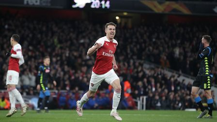 Arsenal's Aaron Ramsey celebrates scoring his side's first goal of the game during the UEFA Europa L