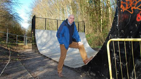Simon Olley former chair of Friends of Parkland Walk at the skateboard ramp