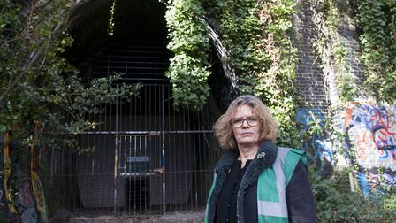 Cathy Meeus at the bat tunnels on the Parkland Walk Nature Reserve. Picture: Nigel Sutton