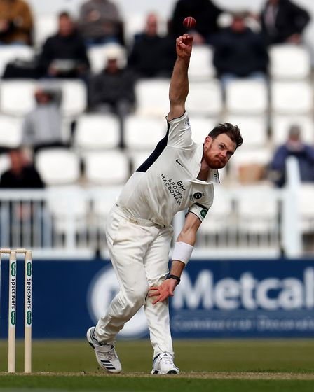 Middlesex's James Harris bowls during day one of Specsavers County Championship Division Two match a