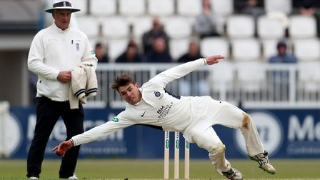 Middlesex's Max Holden catches the ball in the air during day one of Specsavers County Championship