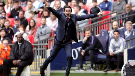 Arsenal manager Unai Emery celebrates Aaron Ramsey's opener during the Premier League match against