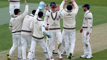 Middlesex celebrate as Northamptonshire's Ricardo Vasconcelos is bowled out during day one of Specsa