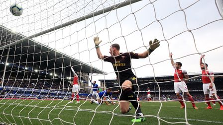 Arsenal goalkeeper Bernd Leno (centre) and team-mates appeal after Everton's Phil Jagielka (not pict