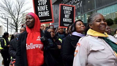 An anti knife crime demonstartion by Holloway Seventh Day Adventists who marched from their church n