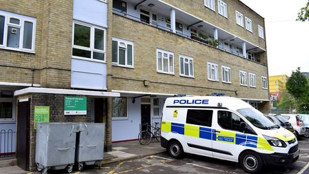 A police van parked outside Papworth Gardens. Picture: Polly Hancock