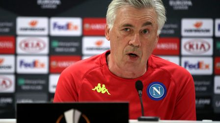 Napoli manager Carlo Ancelotti during the press conference at Emirates Stadium, London. Picture: Ada