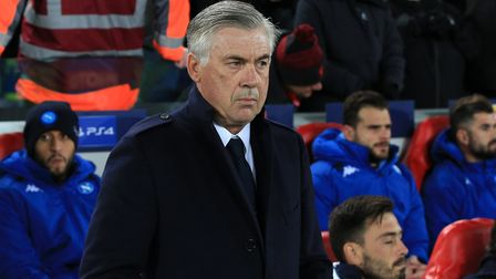 Napoli manager Carlo Ancelotti during the UEFA Champions League match at Anfield, Liverpool. Picture