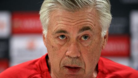 Napoli manager Carlo Ancelotti during the press conference at Emirates Stadium, London.PA
