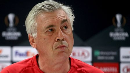 Napoli manager Carlo Ancelotti during the press conference at Emirates Stadium, London. PA