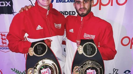 Islington duo Jem Campbell (left) and Masood Abdullah show of the titles they won at the England Box