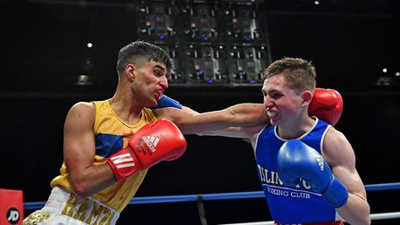 Islington's Connor Daly (right) lost to Hamza Mehmood of Hoddesdon at the England Boxing National Am
