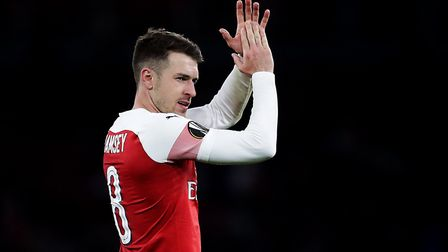 Arsenal's Aaron Ramsey applauds the fans after the final whistle. Picture: Adam Davy/PA Archive/PA I