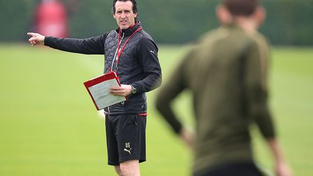 Arsenal manager Unai Emery during the training session at London Colney. Picture: Nigel French/PA Wi