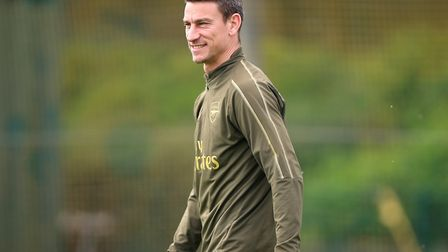 Arsenal's Laurent Koscielny during the training session at London Colney. Picture: Nigel French/PA W