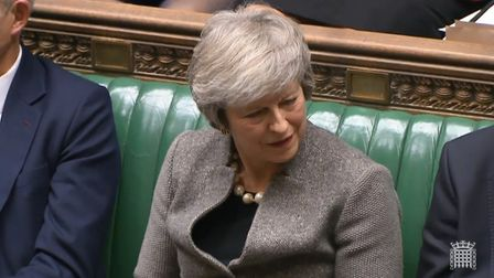 Theresa May reacts to accusations she is stifling debate on Brexit. Photograph: Parliament Live.